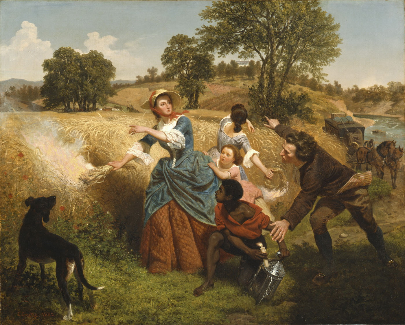 Емануель Лойце 1816-1868. Mrs. Schuyler Burning Her Wheat Fields on the Approach of the British-1400