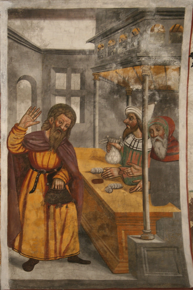 A 16th-century fresco depicting Judas being paid the thirty pieces of silver-784
