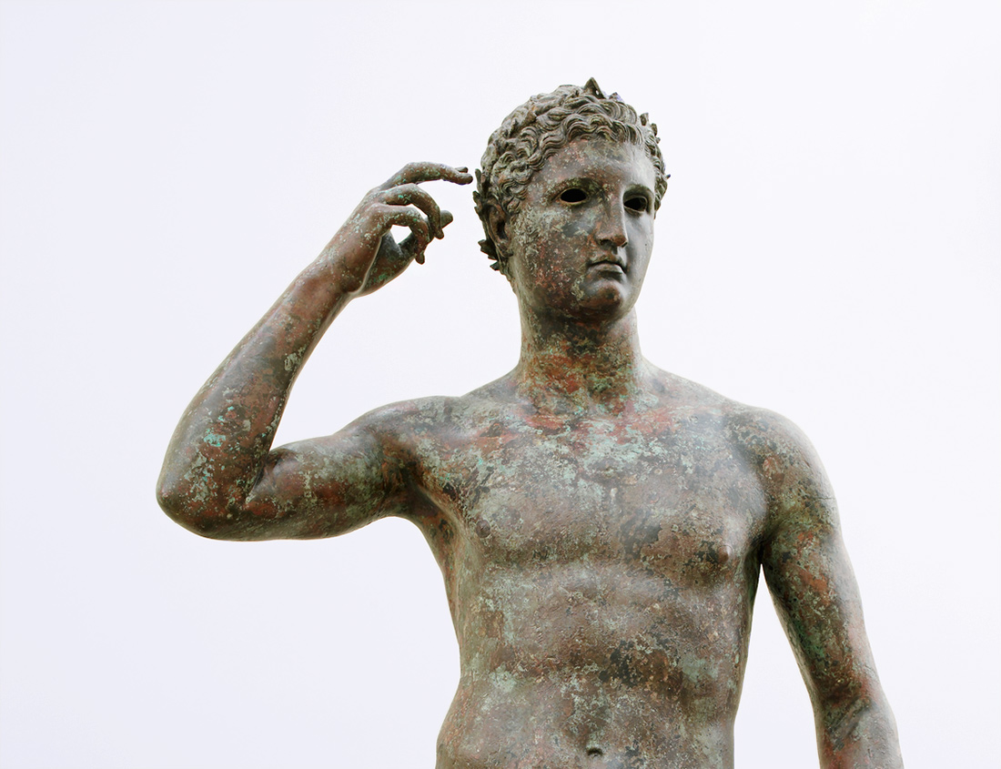 A life-sized bronze statue of a victor in the mens category at Olympia-300-100 BC
