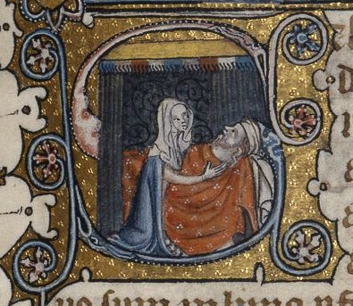 Abigail tends Nabal Fitzwilliam MS 38-1950 f 78-14th century-700