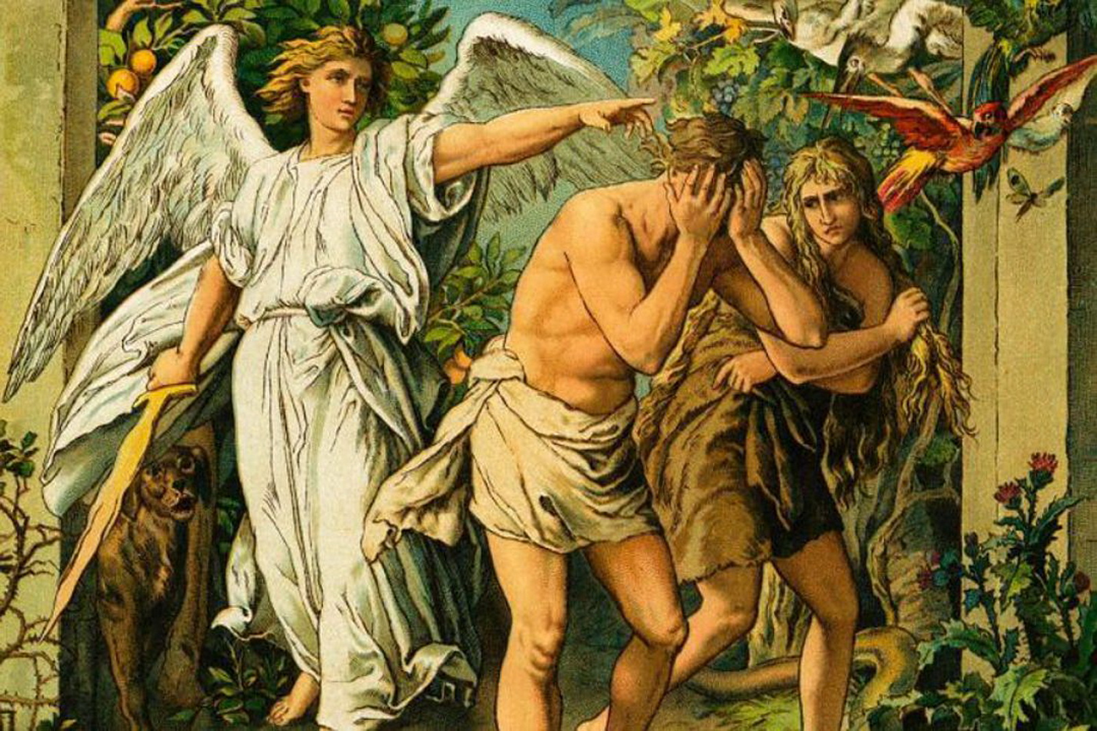 Adam  Eve driven out from Eden Garden-foster bible pictures-2