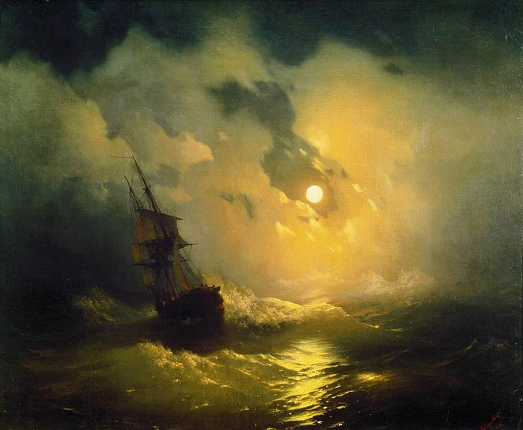 Aivazovsky-Storm on the sea at night