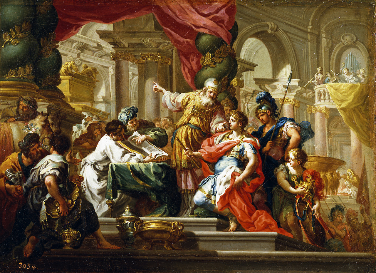 Alexander the Great in the Temple of Jerusalem-Sebastiano Conca circa 1750