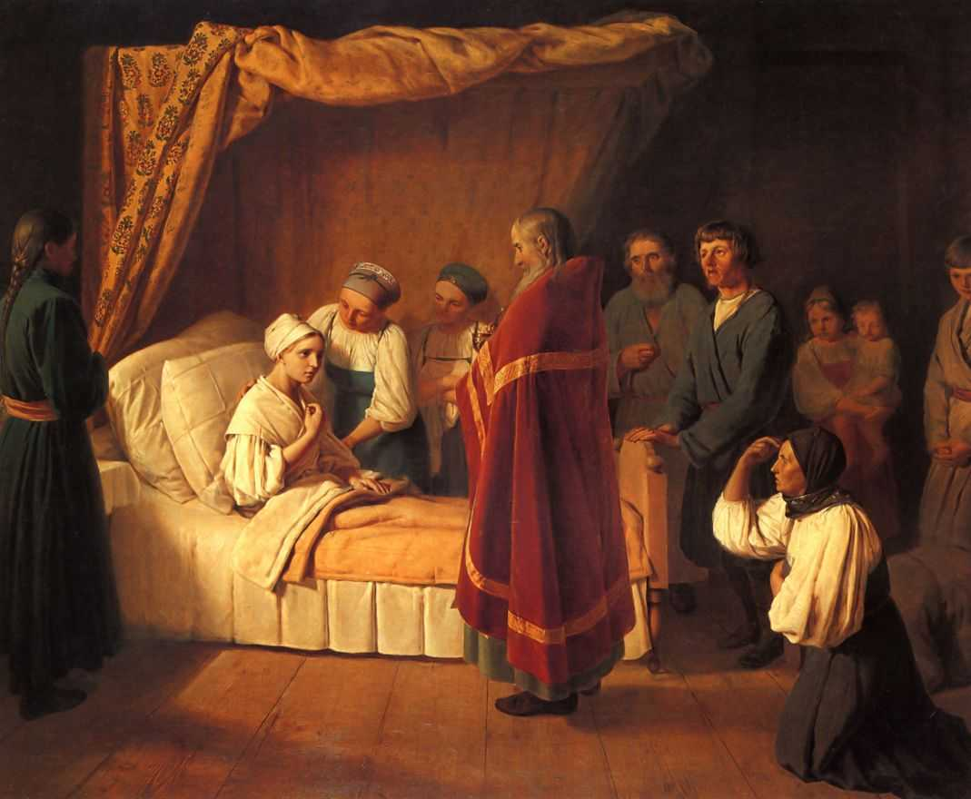 Alexey Venetsianov Administration of the Eucharist to a dying person
