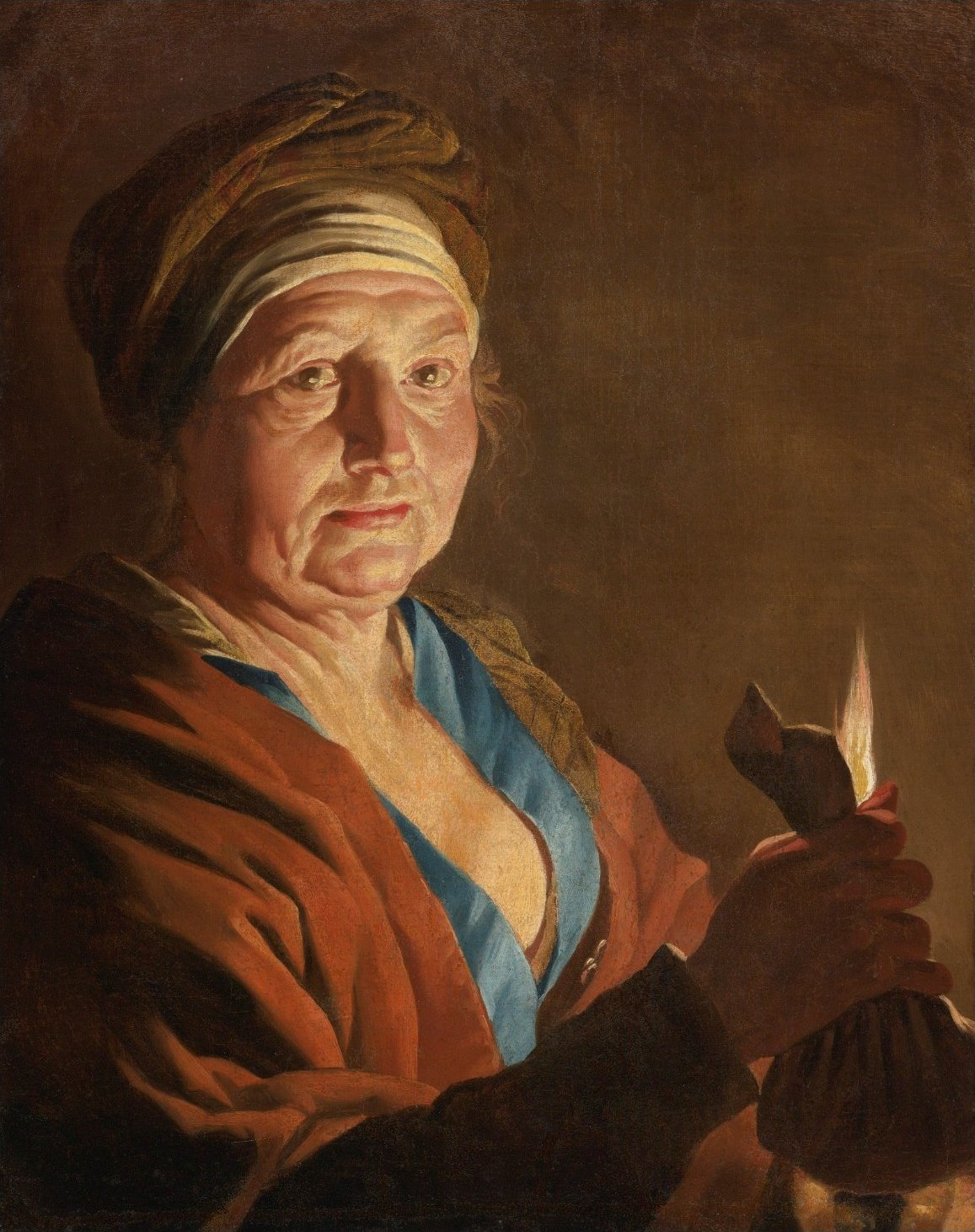 An Old Woman Holding a Purse by Candlelight by Matthias Stomer