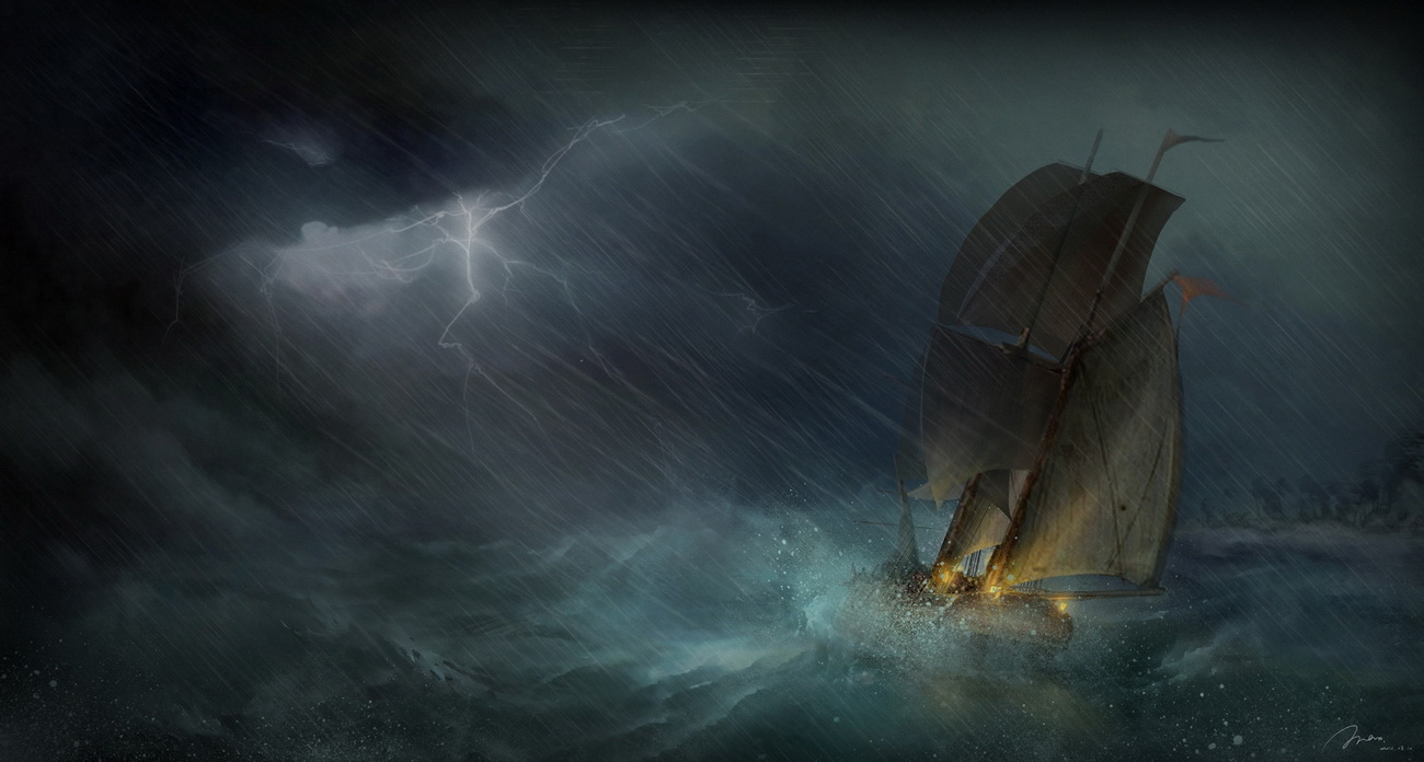 Art-sea-storm-ship-boat-lightning-1300