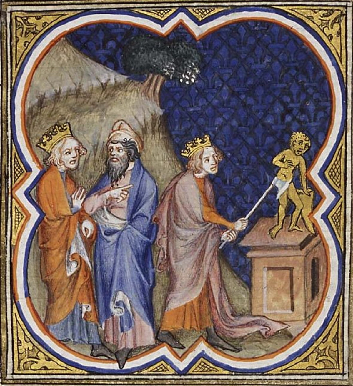 Asa destroys the idols-Bible historiale 1372-2