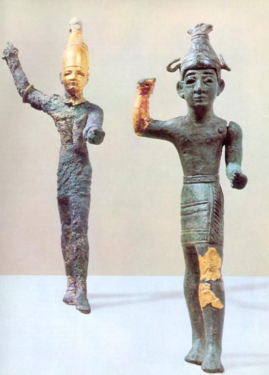 Baal god bronze and gold statuette from Ugarit Ras Shamra Syria