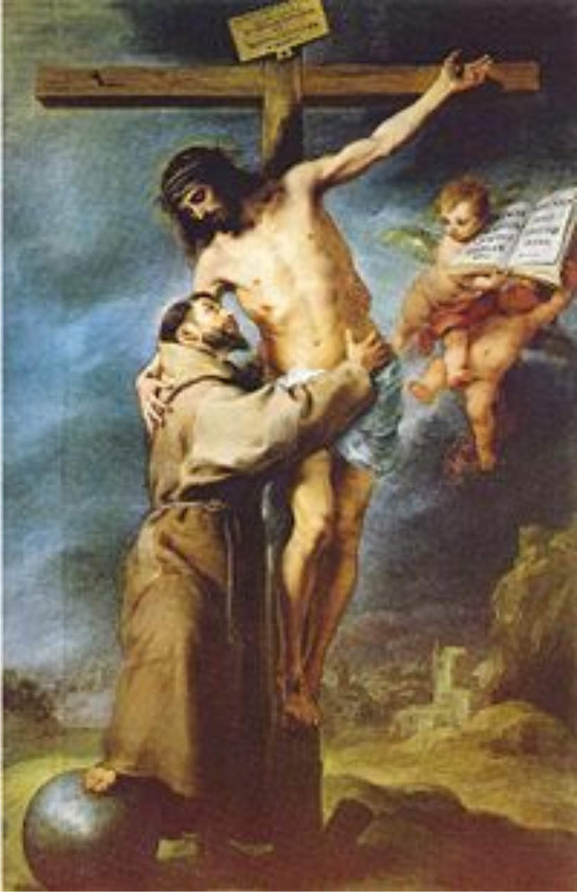 Bartolome Esteban Murillo-Saint Francis of Assisi embracing the crucified Christ