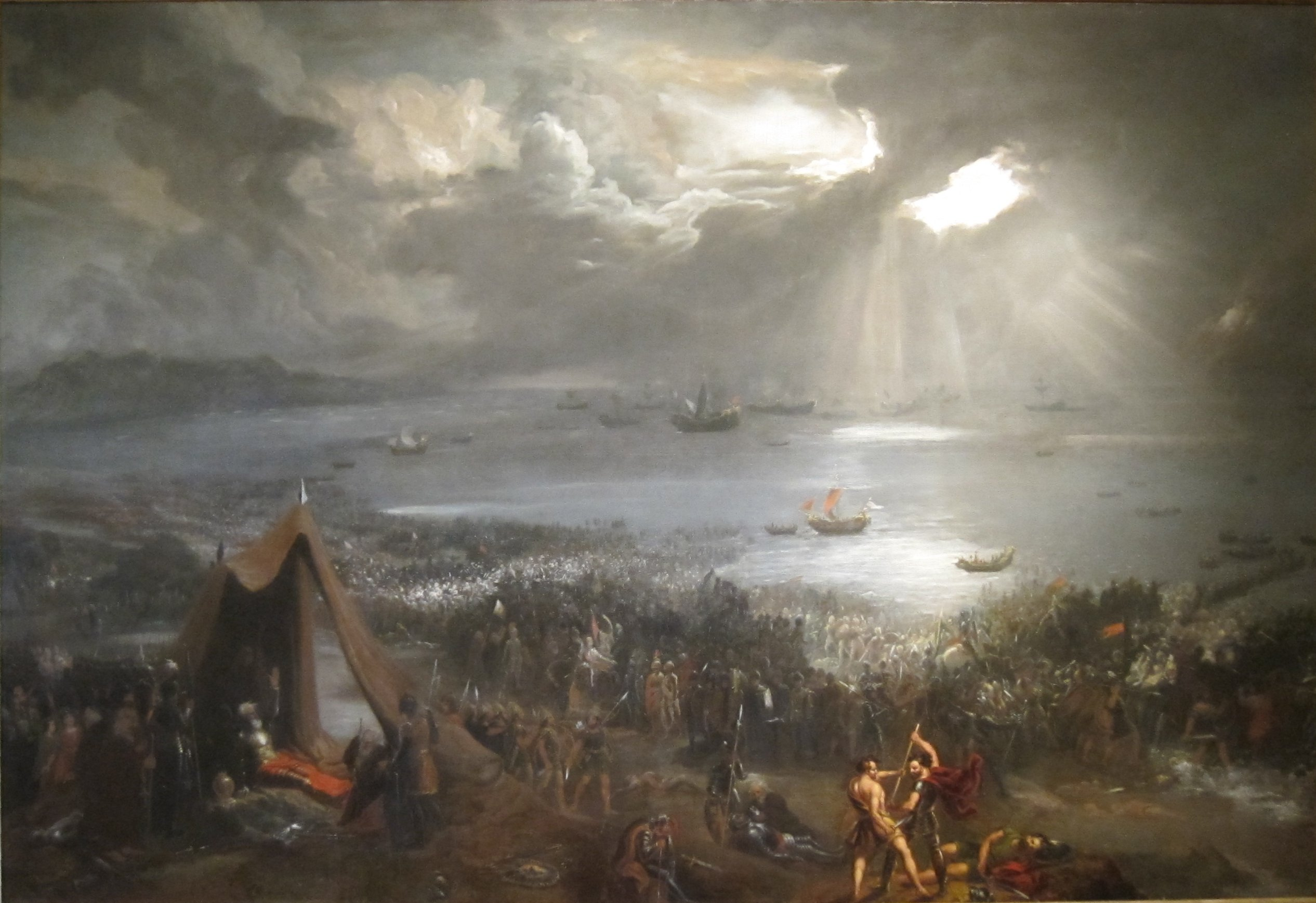 Battle of Clontarf oil on canvas painting by Hugh Frazer 1826