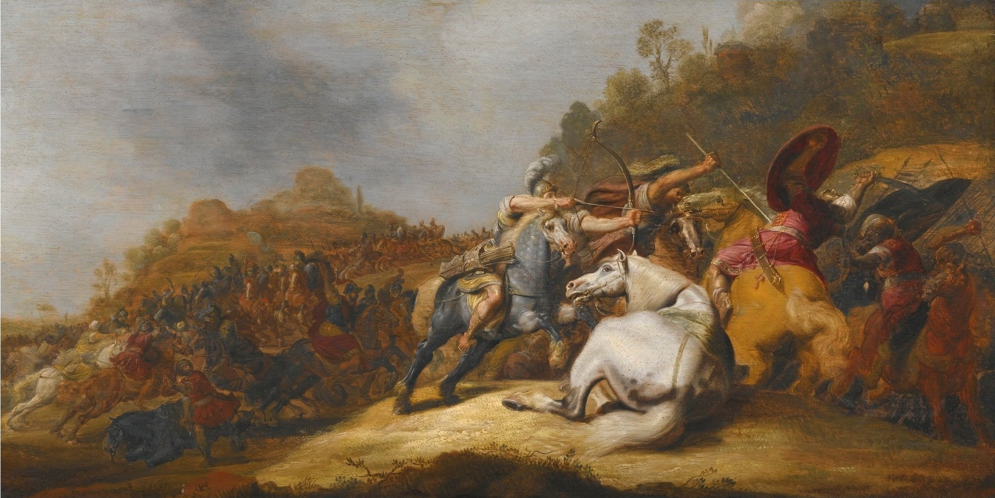 Battle on Horseback with Armored Soldiers  Soldiers Wearing Turbans by Gerrit Claesz. Bleker