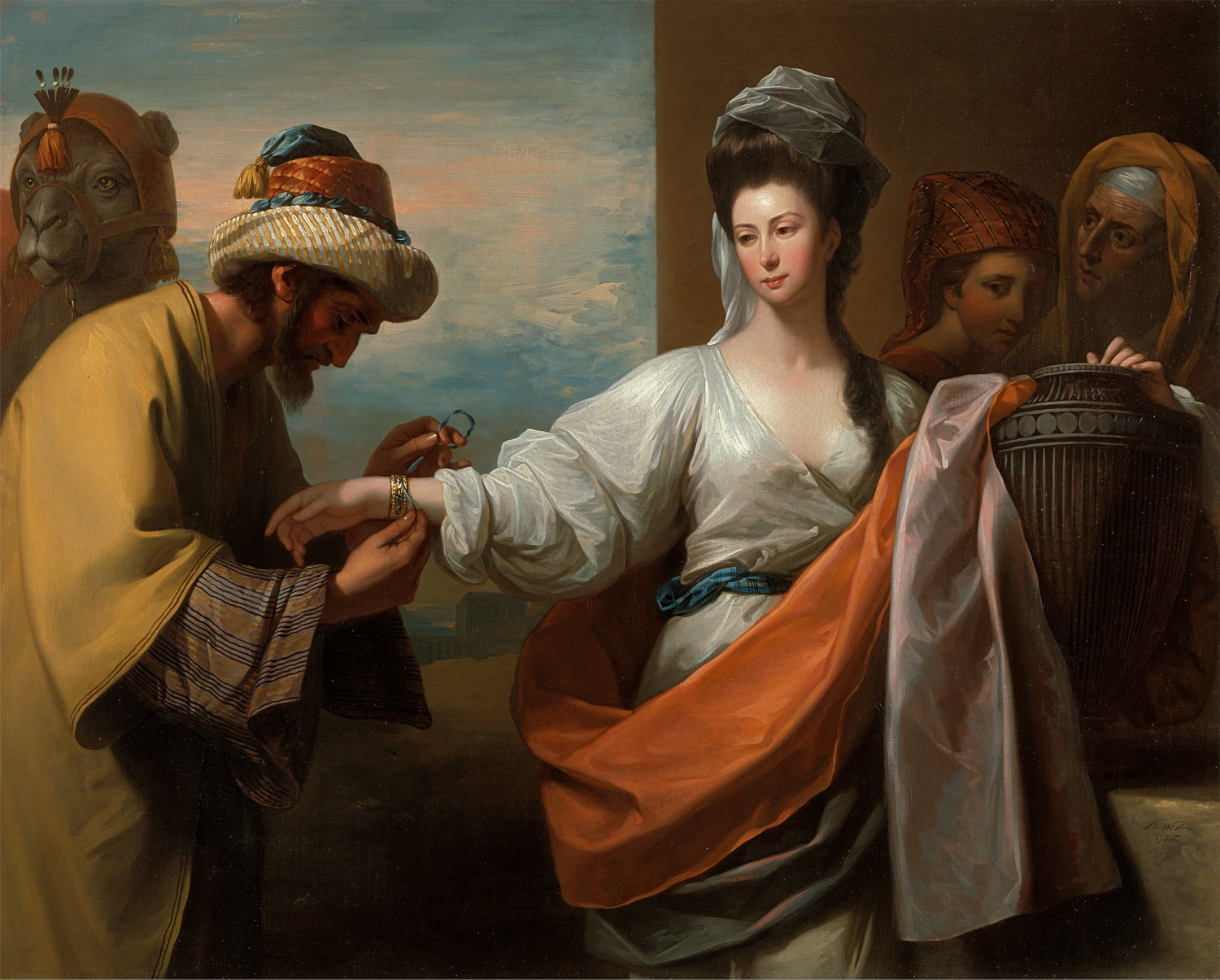 Benjamin West - Isaacs servant tying the bracelet on Rebeccas arm-1500