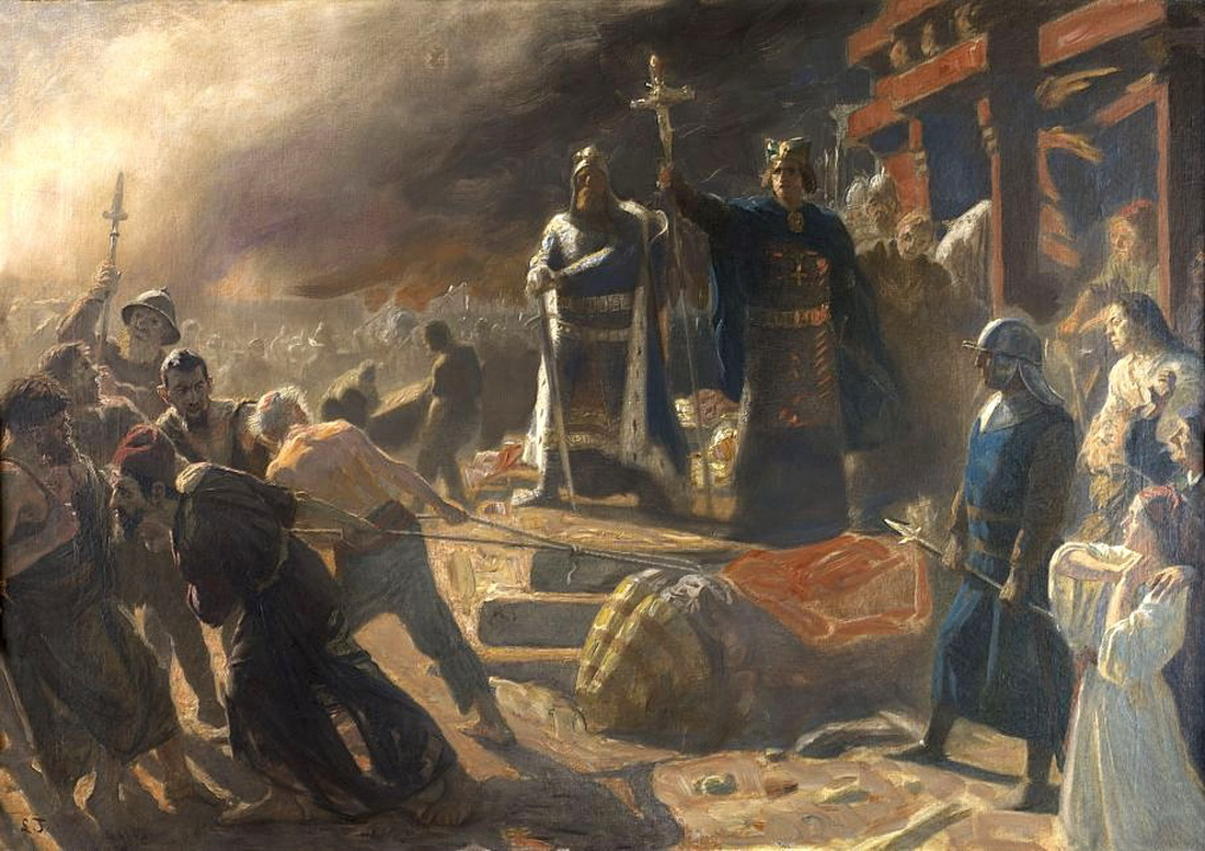Bishop Absalon topples the god Svantevit at Arkona