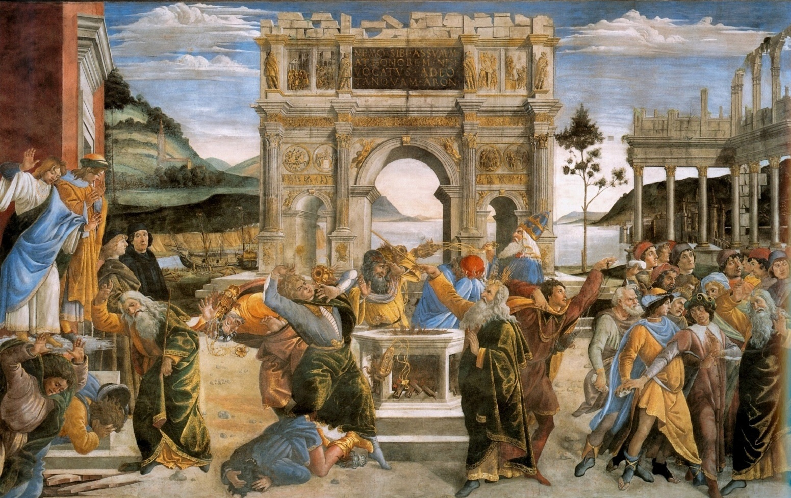 Botticcelli Sandro - The Punishment of Korah and the Stoning of Moses and Aaron - 1481-82