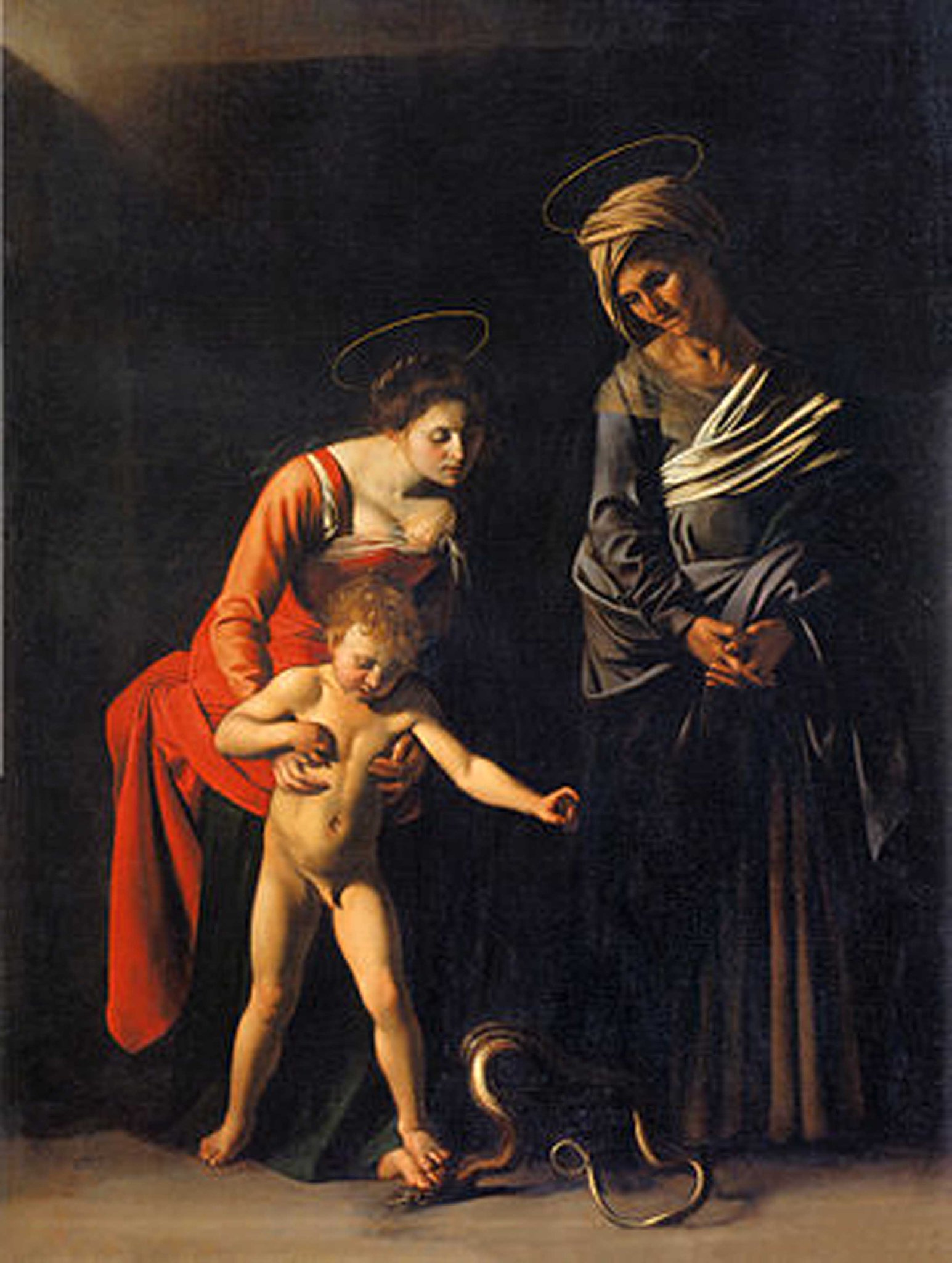 Caravaggio-Madonna and child with St. Anne