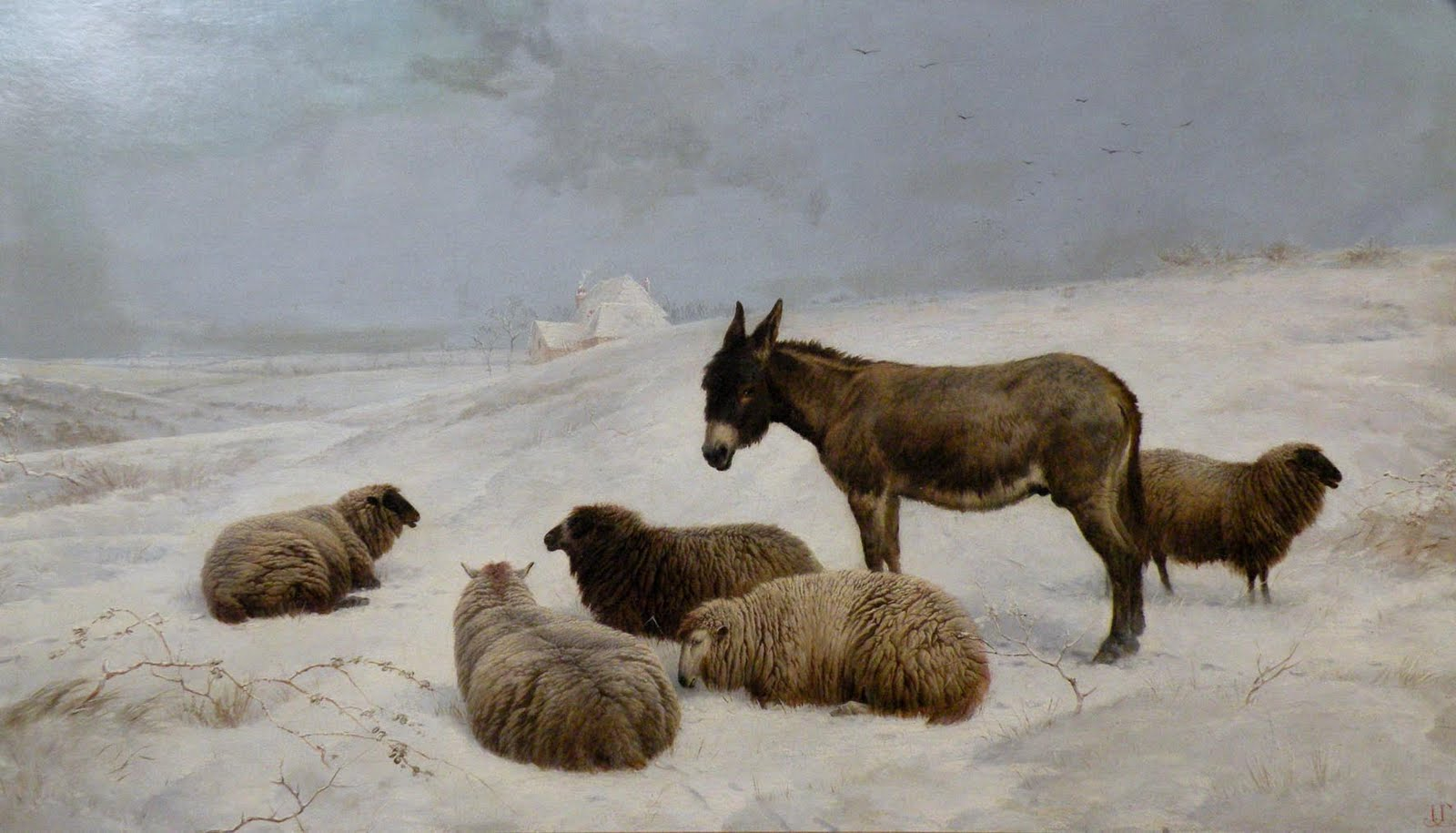 Charles Jones Donkey and Sheep in a Winter Landscape