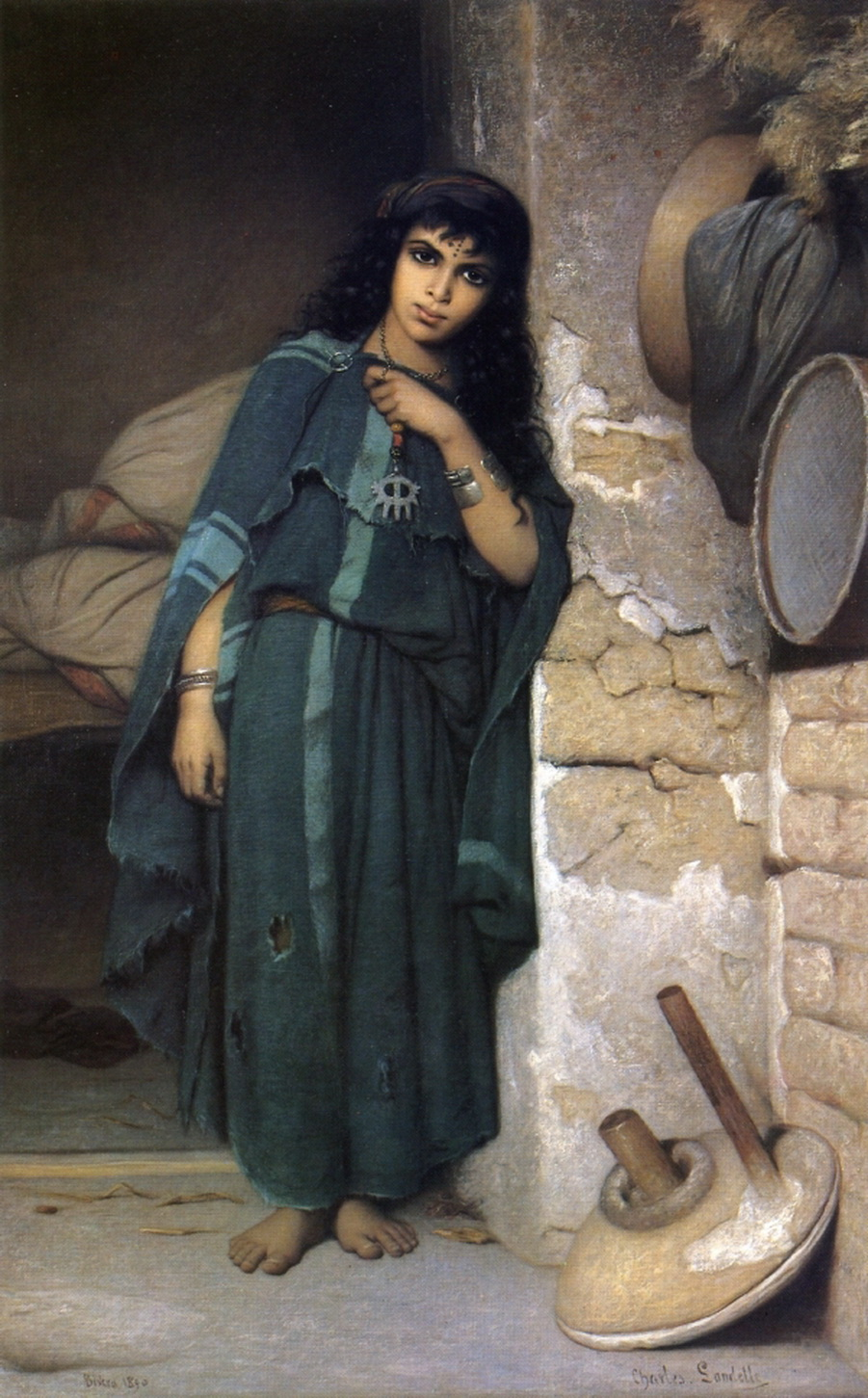 Charles Landelle Girl near the wall