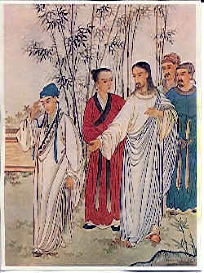 Chinese depiction of Jesus and the rich young man Beijing 1879