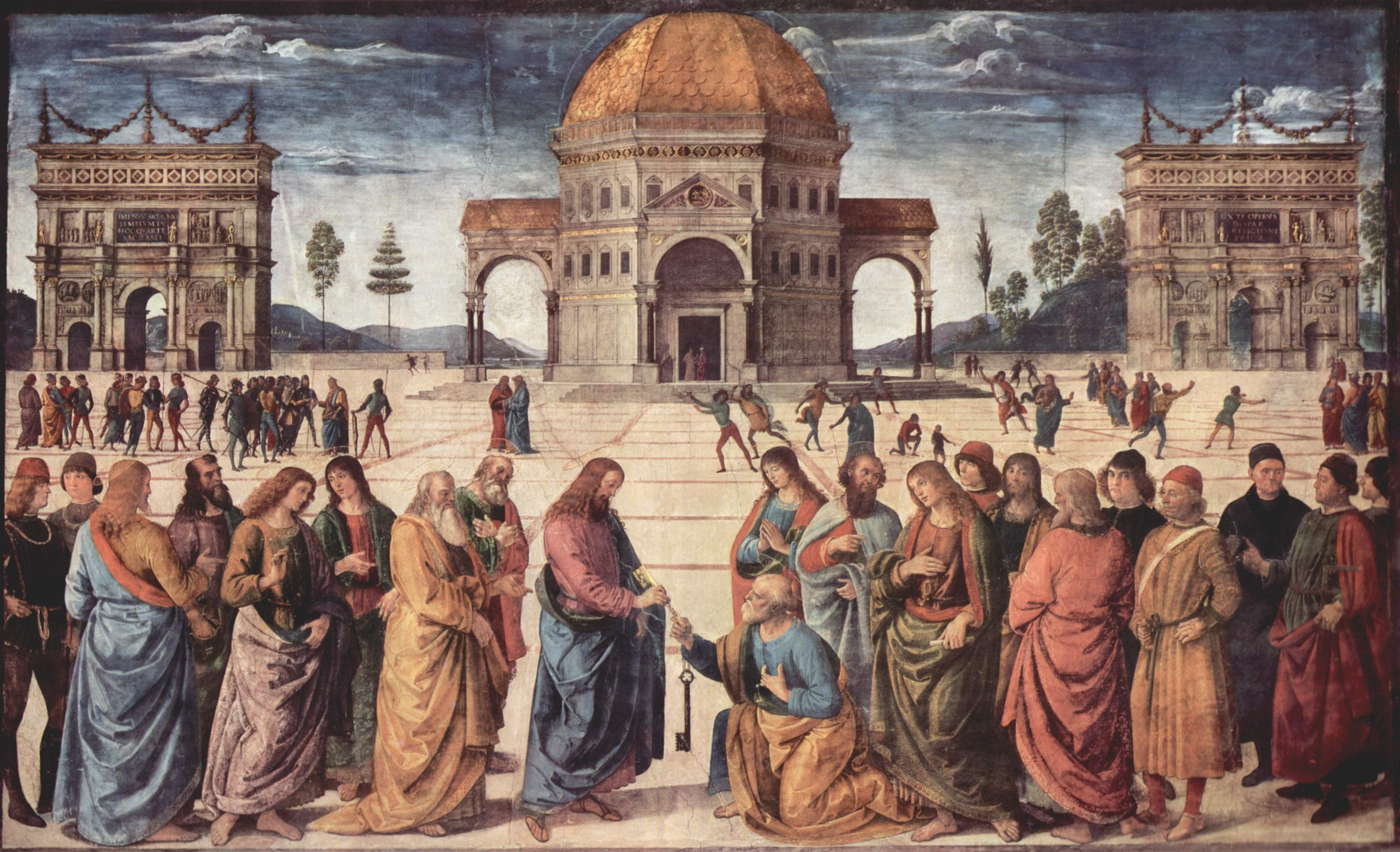 Christ Handing the Keys to St. Peter by Pietro Perugino-2