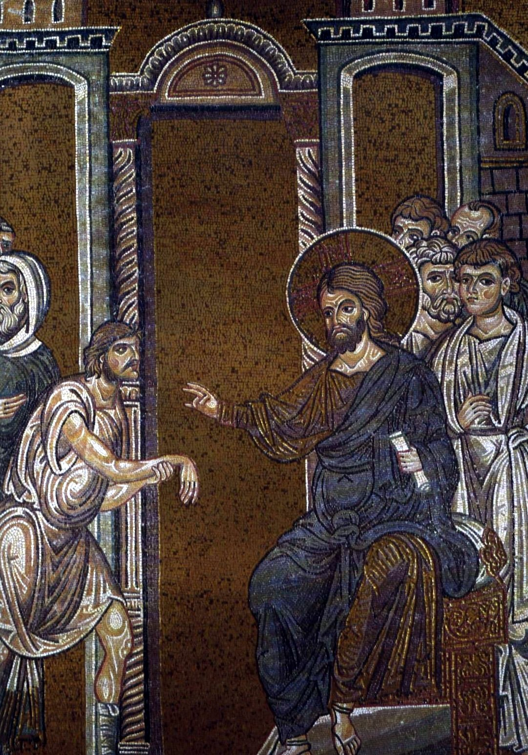 Christ heals the man with paralysed hand. Byzantine mosaic in the Cathedral of Monreale
