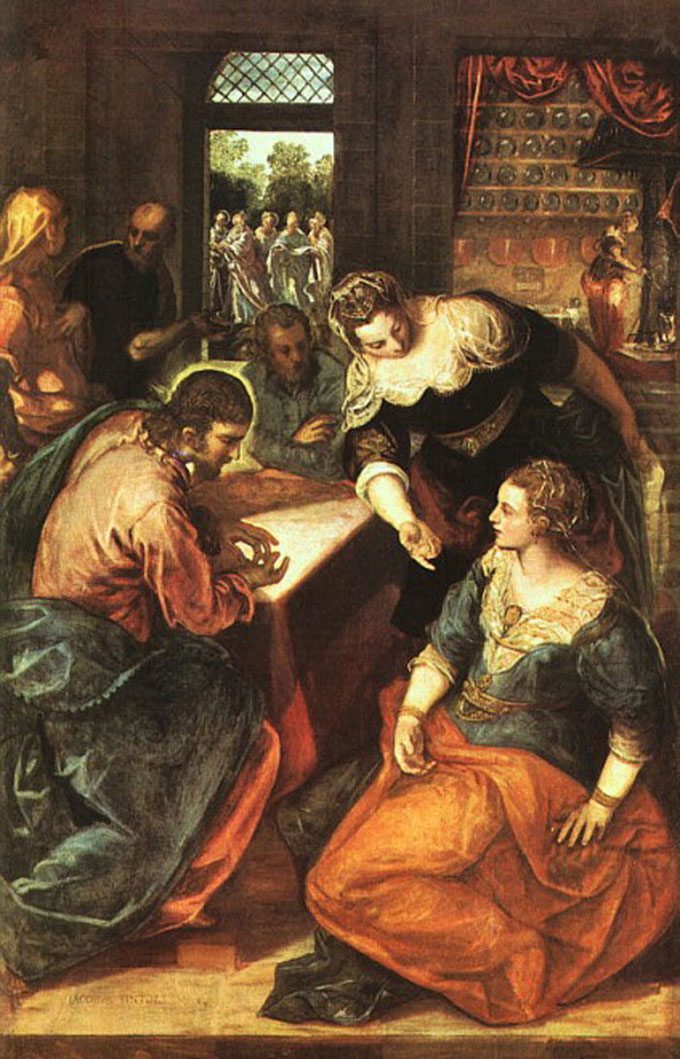 Christ in the House of Mary and Martha Tintoretto 1580