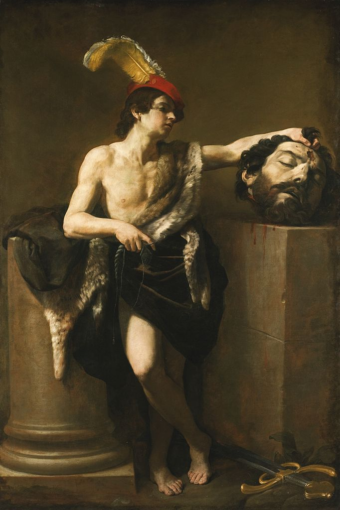 David with the Head of Goliath oil on canvas painting Guido Reni
