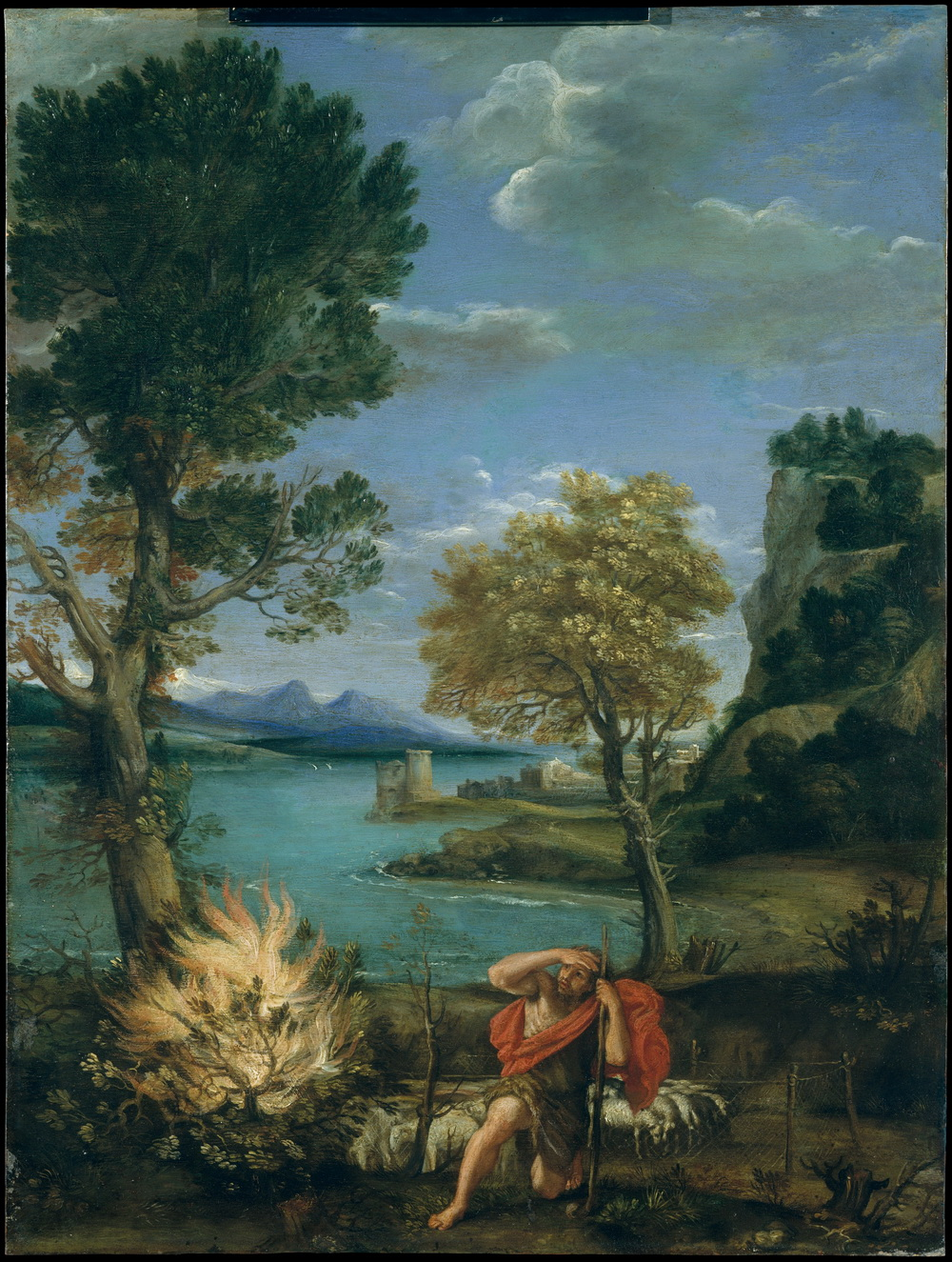 Domenichino 15811641-Landscape with burning bush and Moses-1000