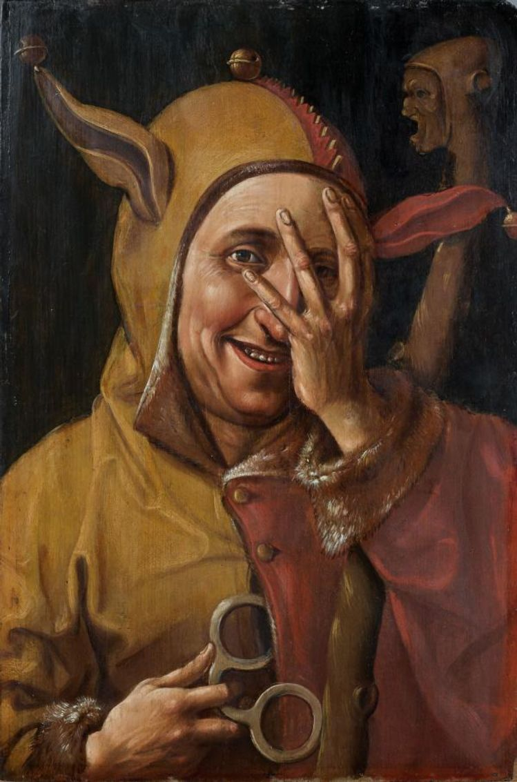 Dutch Oil on wood painting of Fool 16th Century