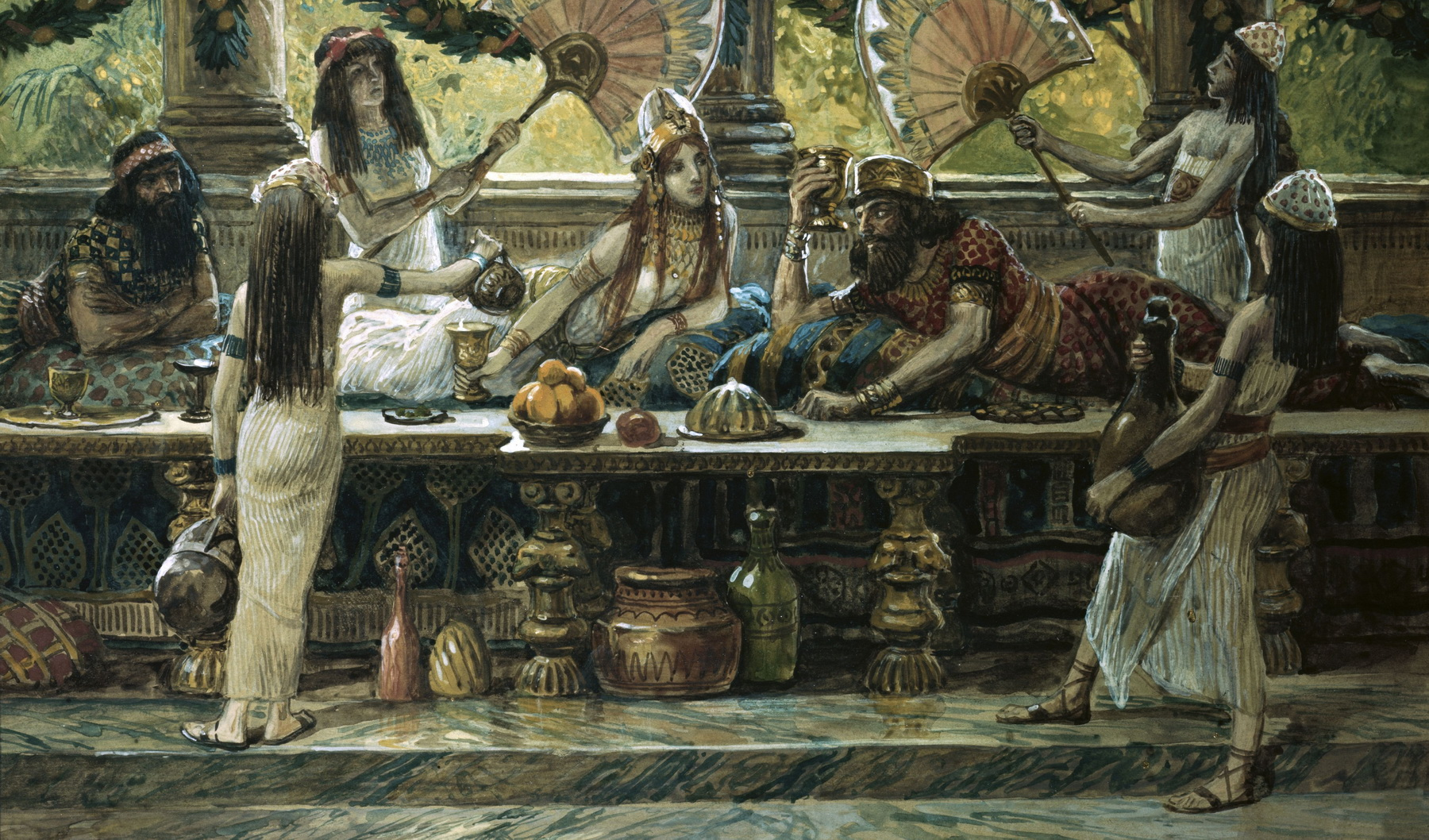 Esther Feasts with the King painting by James Tissot-2