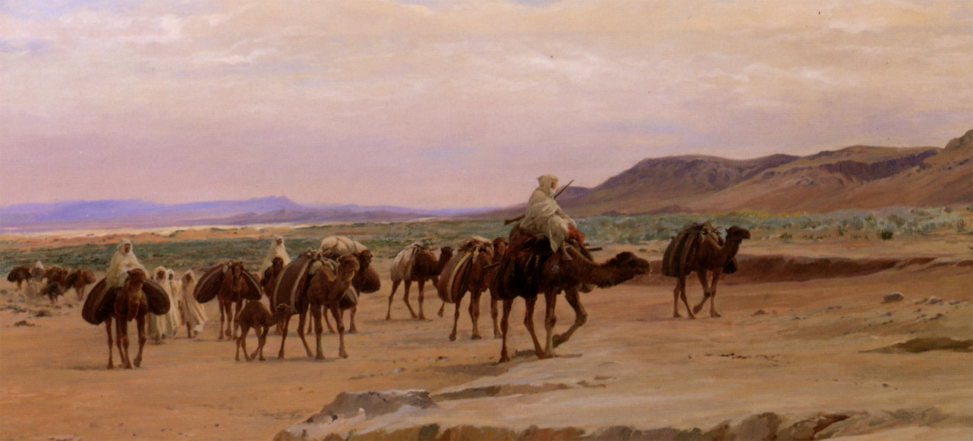 Eugene Girardet ALexis Caravannes De Sel Dans Le Desert Oil On Canvas-huge