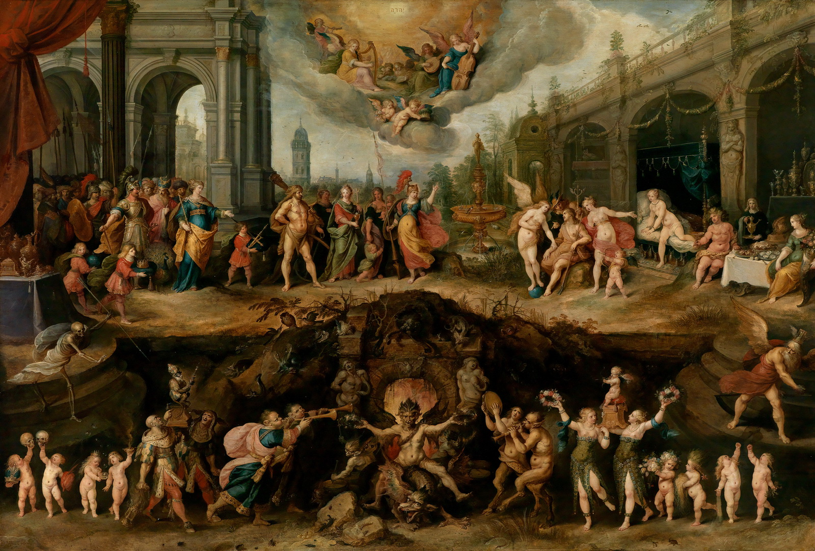 Frans Francken II Mankinds Eternal Dilemma The Choice Between Virtue and Vice-1600