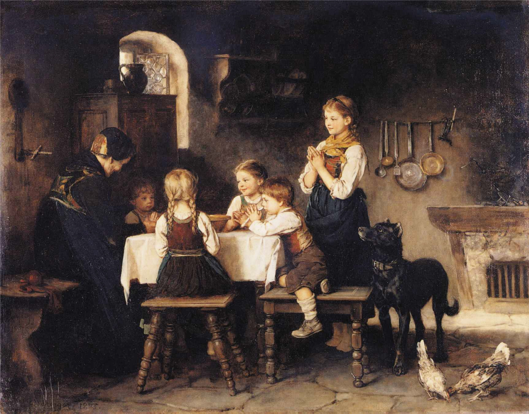 Franz von Defregger - Grace Before Meal