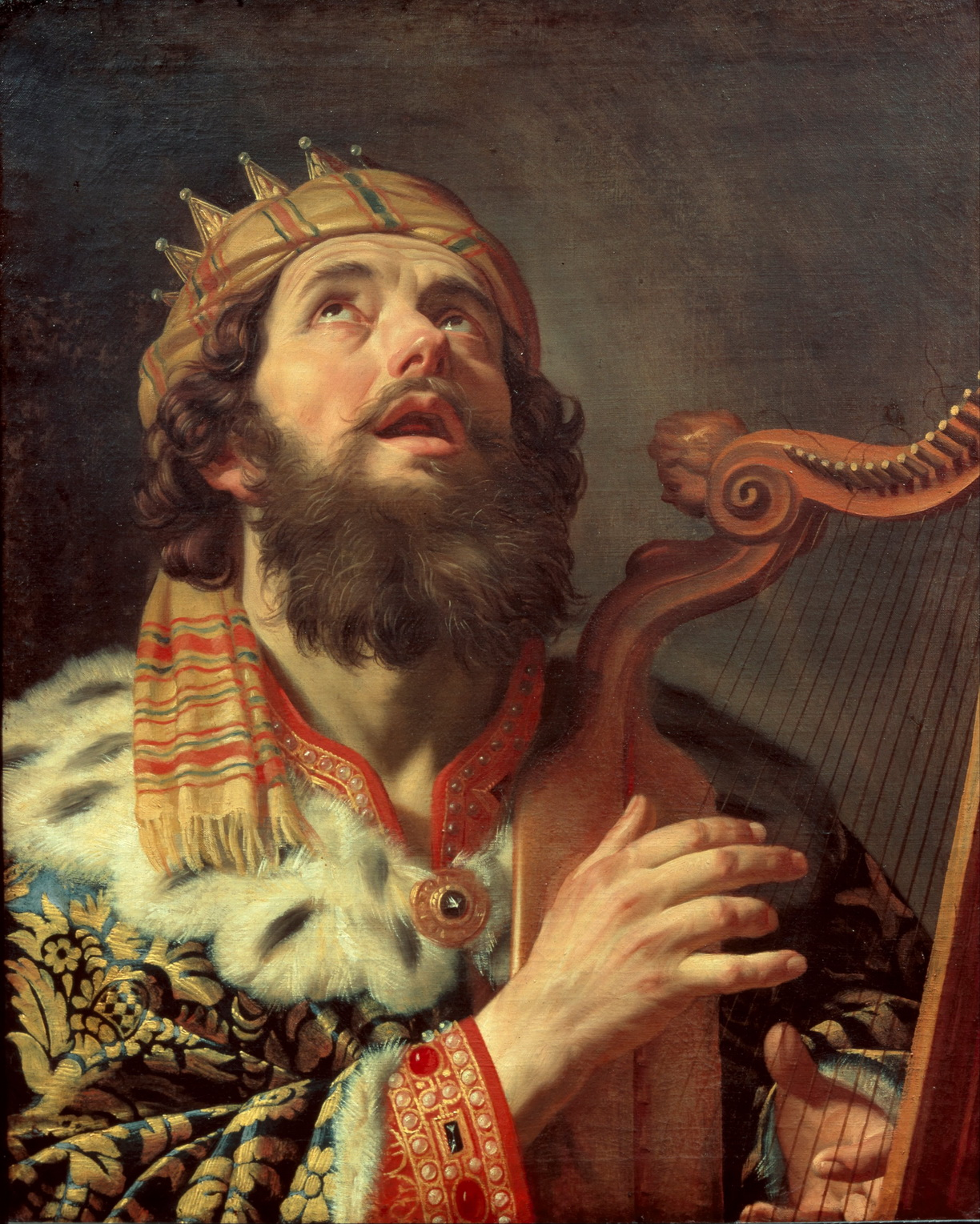 Gerard van Honthorst - King David Playing the Harp-1224