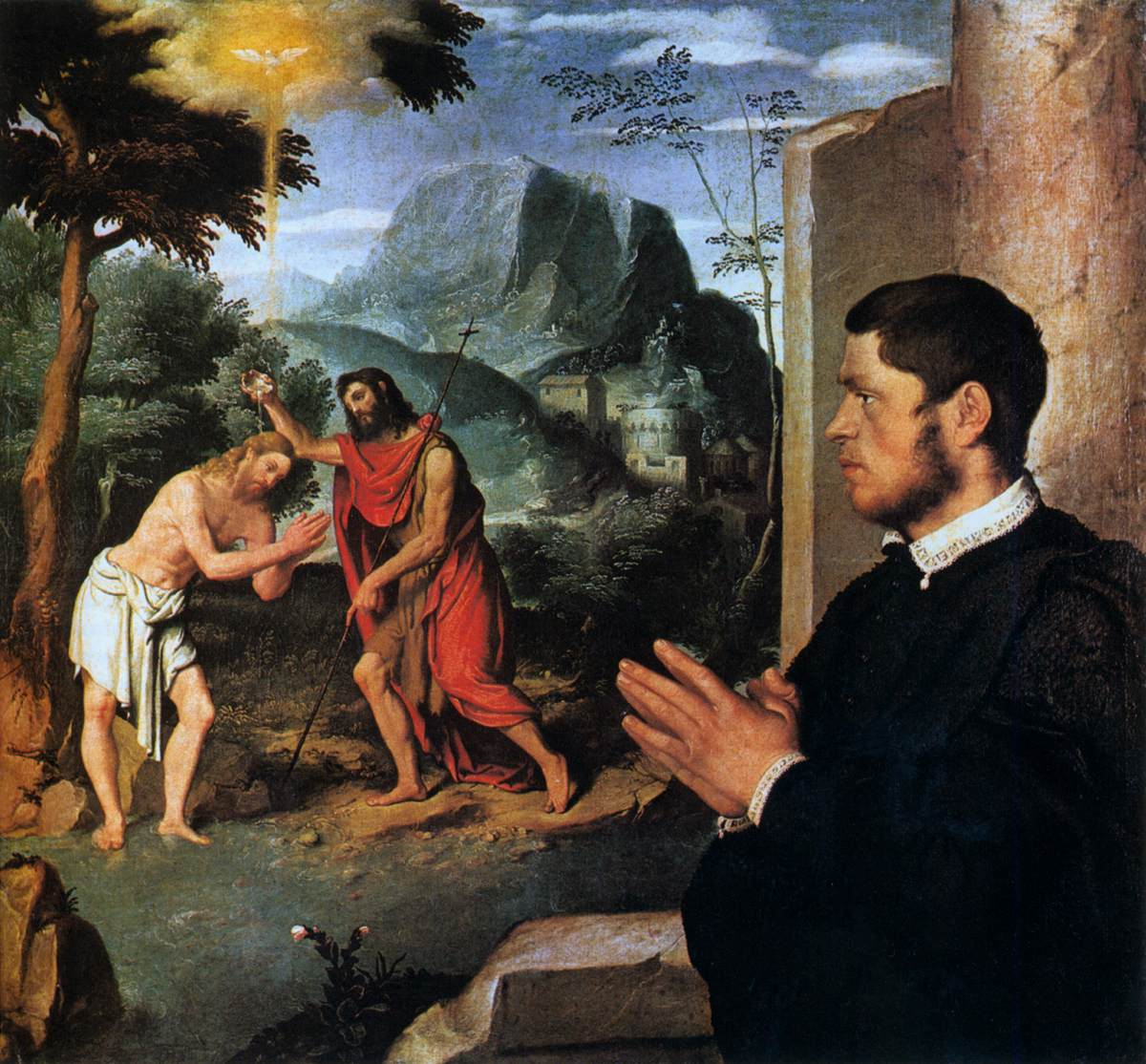 Giovanni Battista Moroni - The Baptism of Christ with a Donor - WGA16246