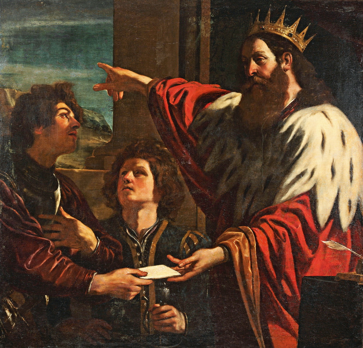 Giovanni Francesco Barbieri Il Guercino King David Presents a Letter to Uriah-1200