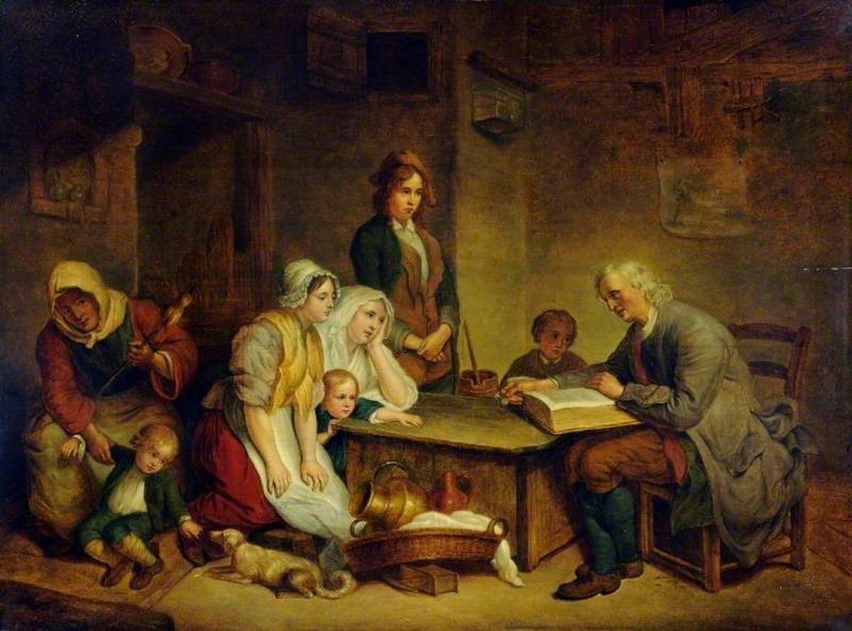 Greuze A Father Reading the Bible to His Family 1750-1200