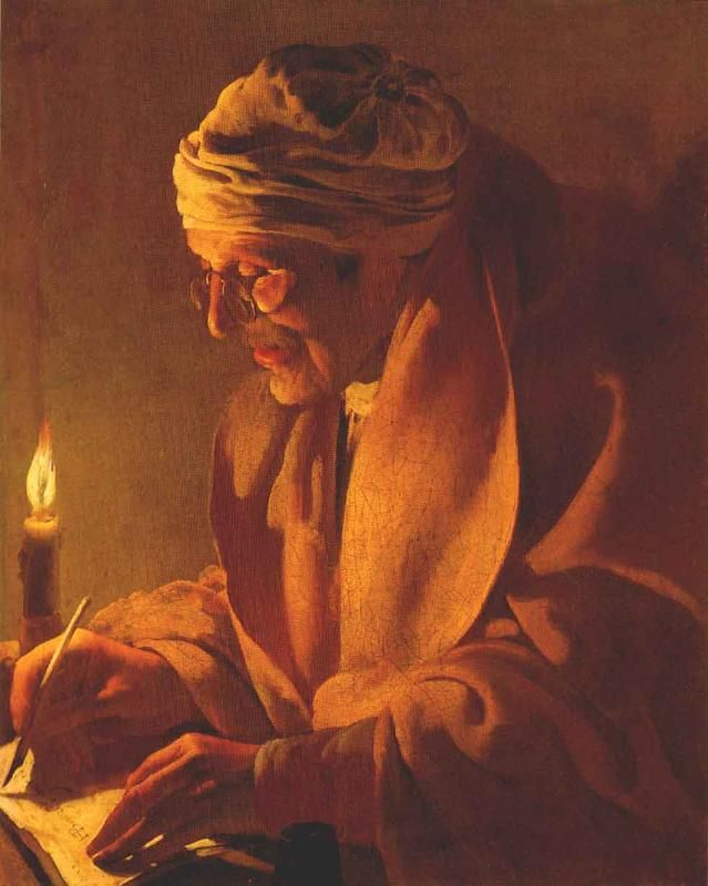 Hendrick ter Brugghen Old man writing by candlelight