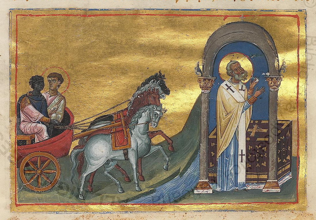 Illustration from the Menologion of Basil II of Philip and the Ethiopian eunuch