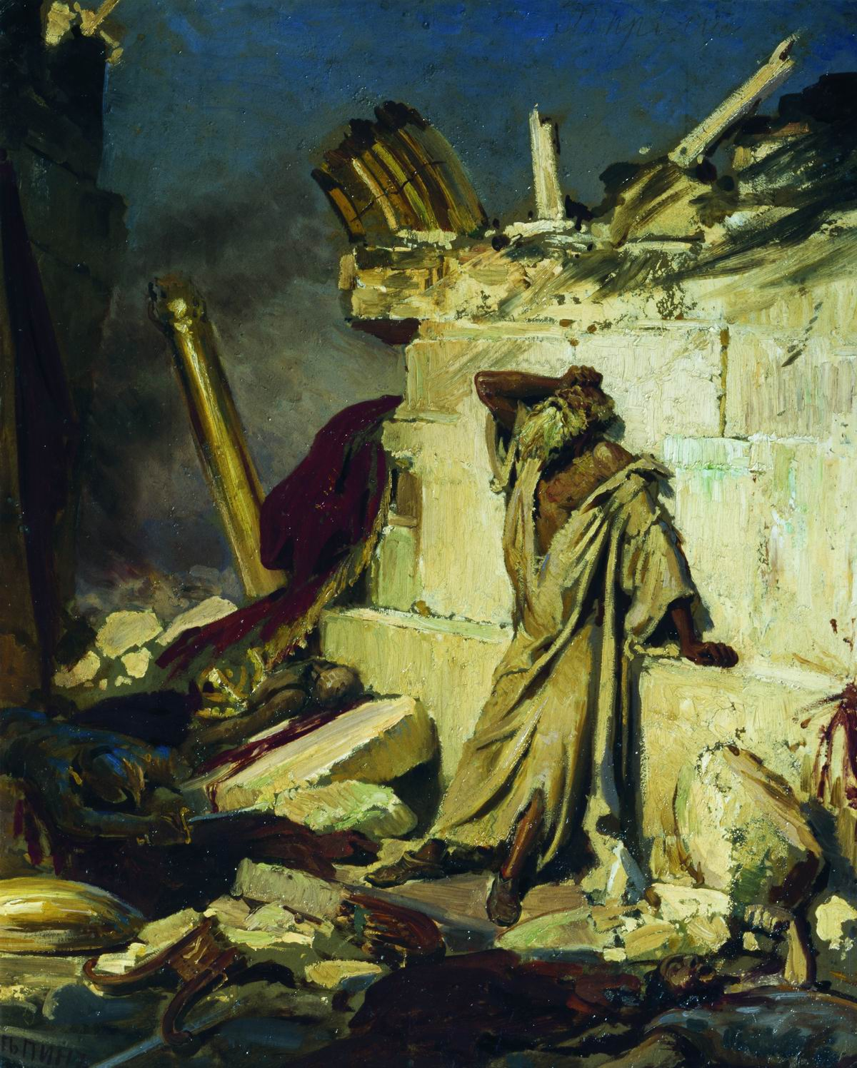 Ilya Repin Cry of the Prophet Jeremiah on the Ruins of Jerusalem 1870-2