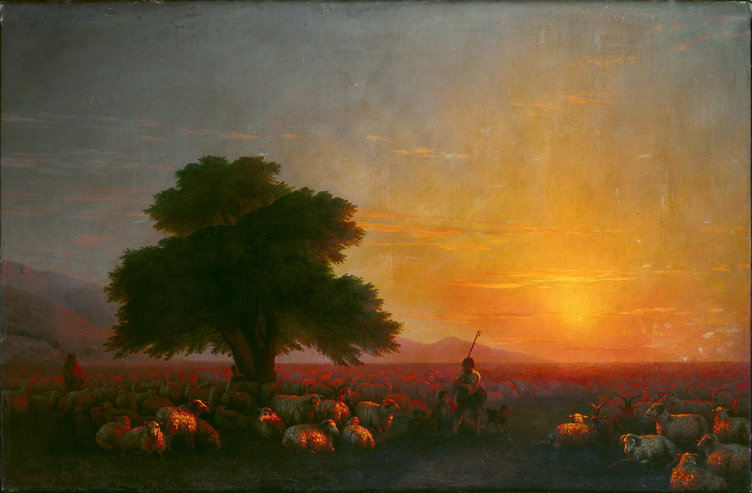 Ivan Aivazovsky Crimea. Shepherds a flock at sunset. 1859-2-1500