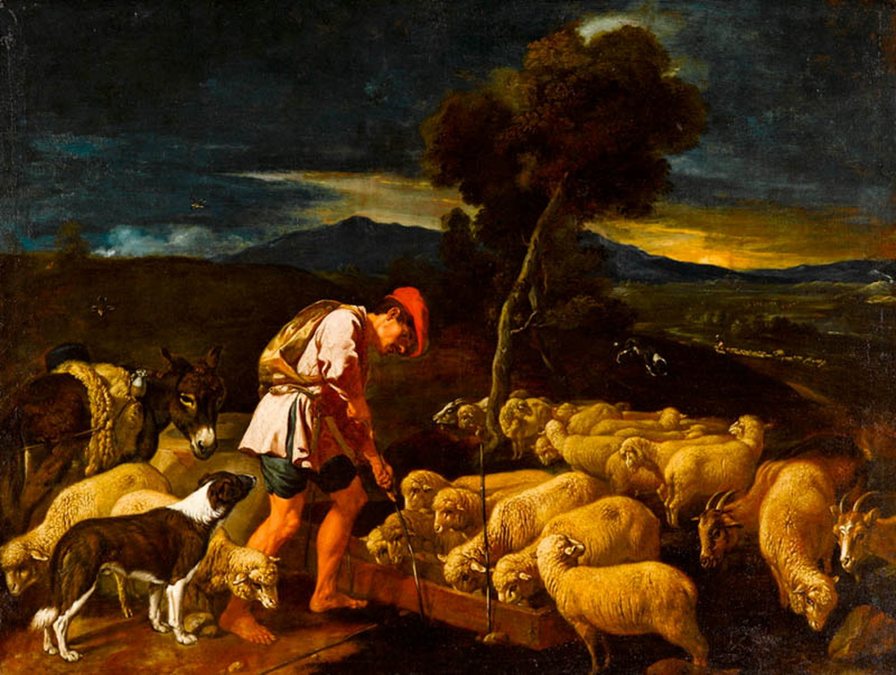 Jacob Watering Labans Sheep before Peeled Branches-1000