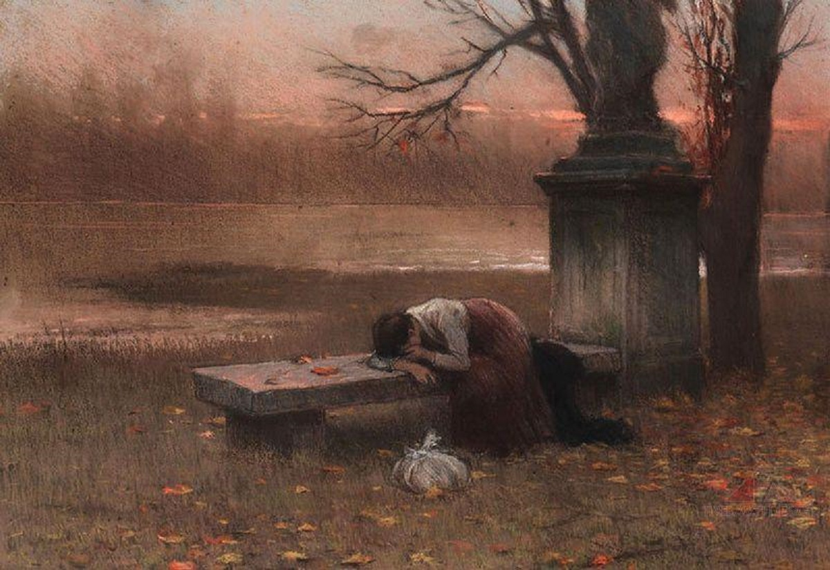 Jakub Schikaneder 18551924 Immersed in Thought Lonely 1890