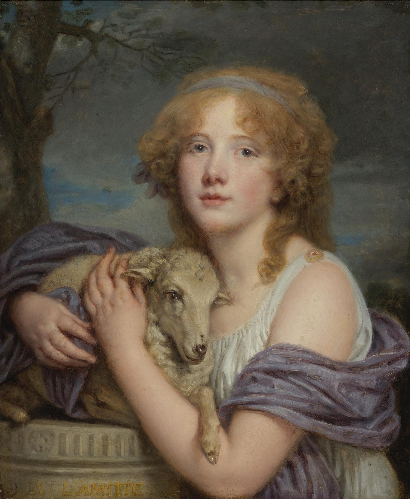 Jean-Baptiste Greuze Girl with a Lamb c.1785