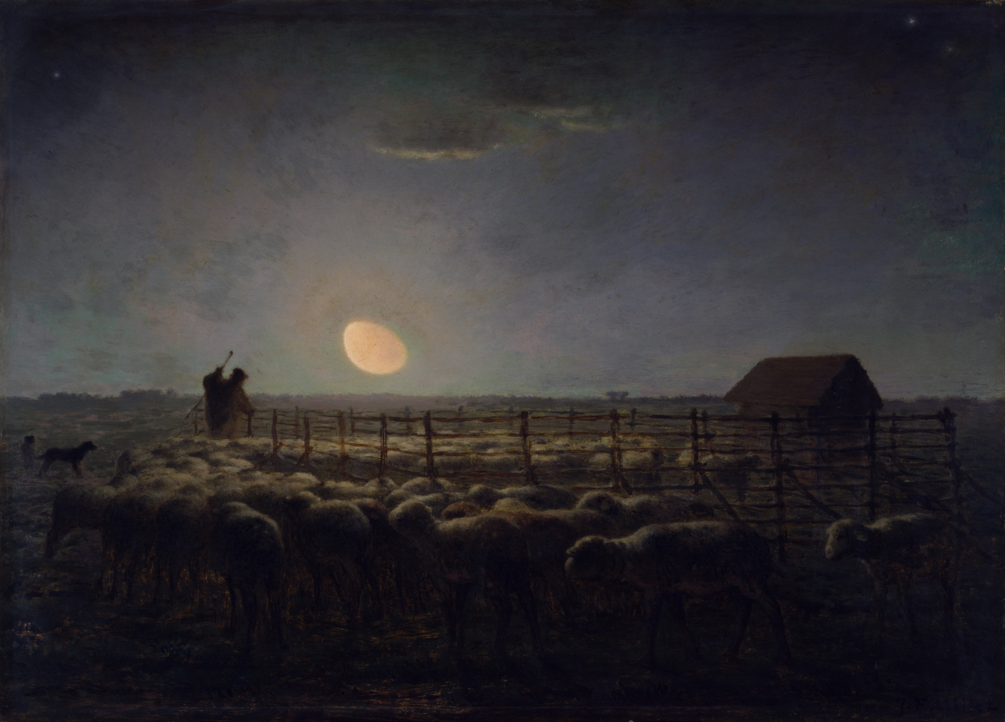 Jean-François Millet - The Sheepfold Moonlight 2000