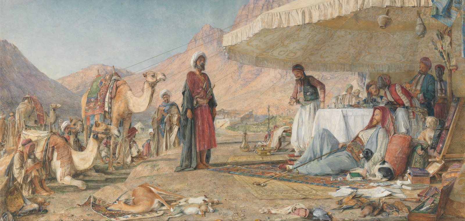 John Frederick Lewis - A Frank Encampment in the Desert of Mount Sinai. 1842 1600