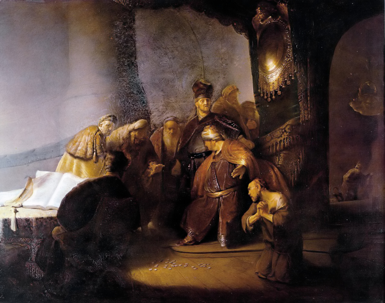 Judas Returning the Thirty Silver Pieces - Rembrandt