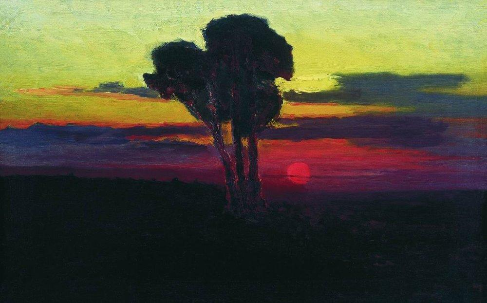 Kuindzhi Sunset with trees 1876 1890