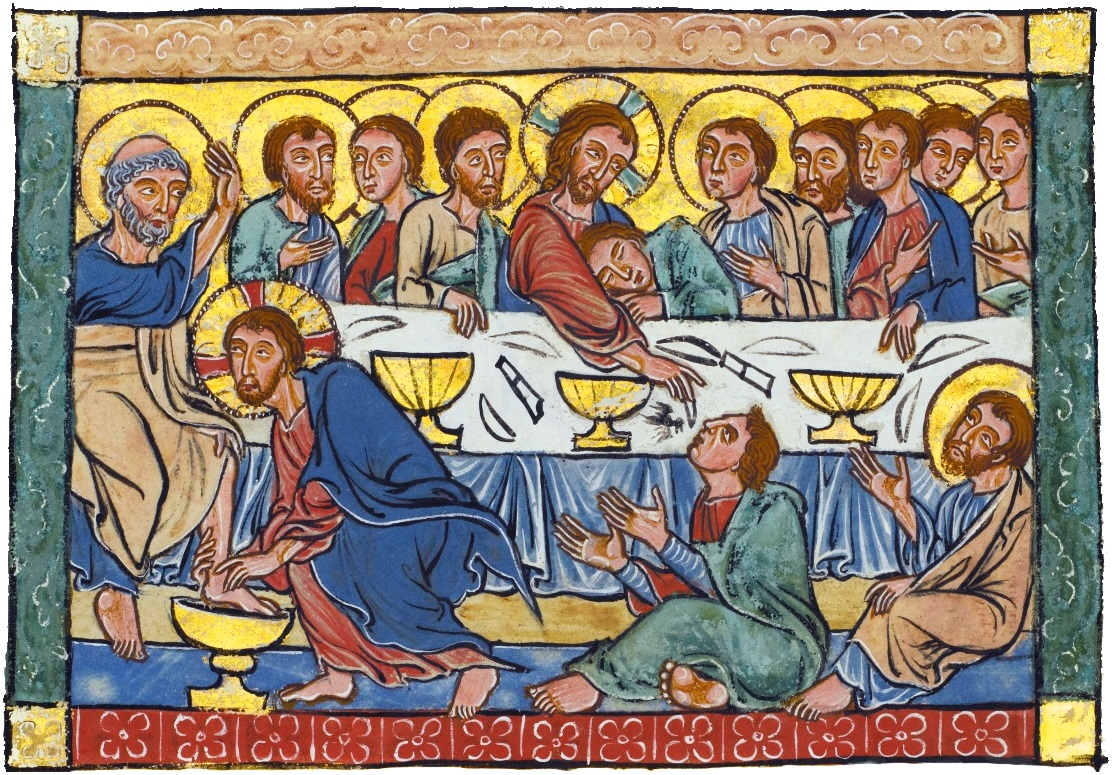 Last Supper miniature from a Psalter c1220-40