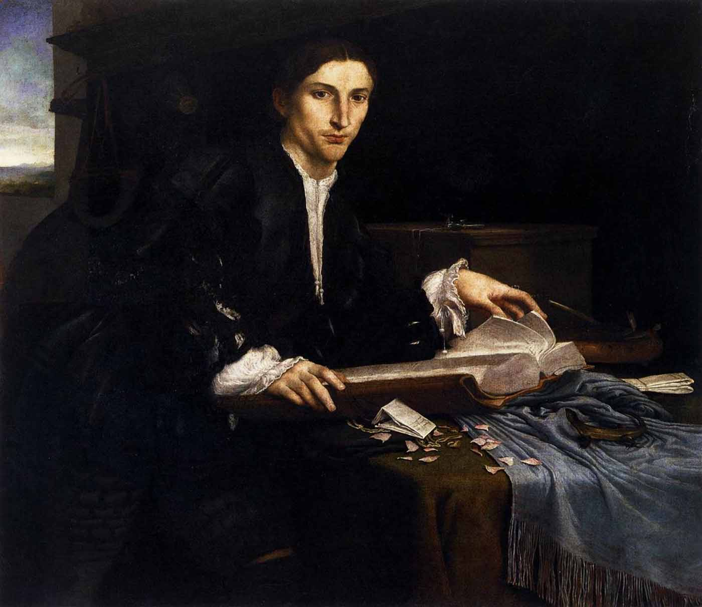 Lorenzo Lotto Portrait of a Young Man in his Study c. 1530-2