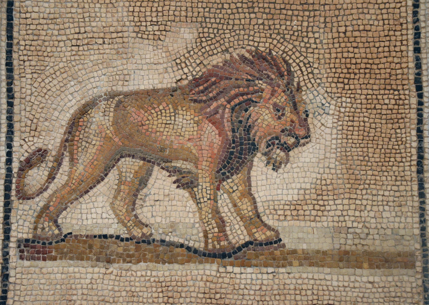 Mosaic from Colonia Aelia Augusta Itálica depicting a Lion 176-275 AD-1400